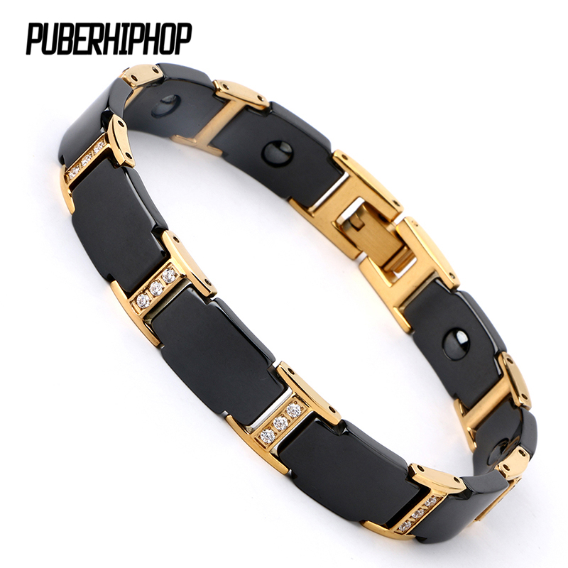 Luxury Men Gold Bracelet Health Black Ceramic Bio Magnetic Germanium Bracelets Men Hand Chain Link Crystal Stainless Jewelry