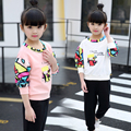 Children's clothing kids girls sets child spring sets 2pcs 2017 new fashion cartoon child 3 4 sweatshirt 5 twinset 6 7 - 8