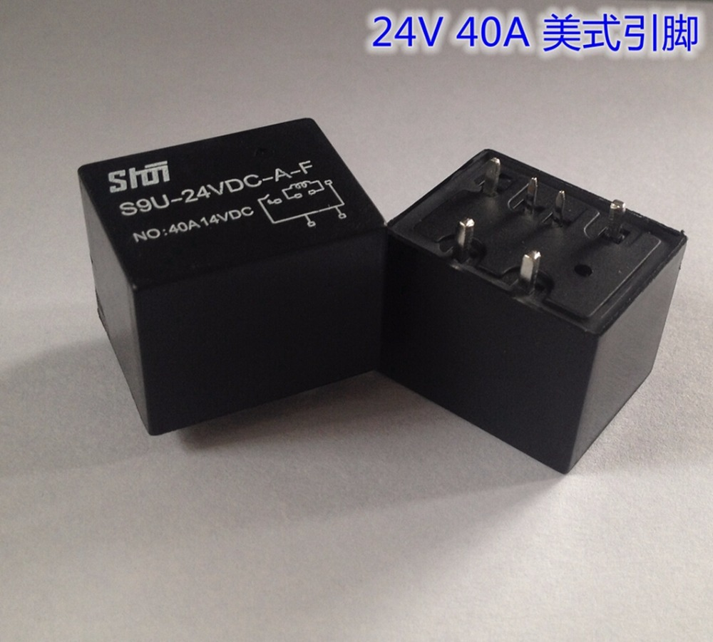 S9U 4119 Small size large current Automobile relay 24V/40A American type 6 Pin Relay Normally open S9U-24VDC-A-F normally open single phase solid state relay ssr mgr 1 d48120 120a control dc ac 24 480v