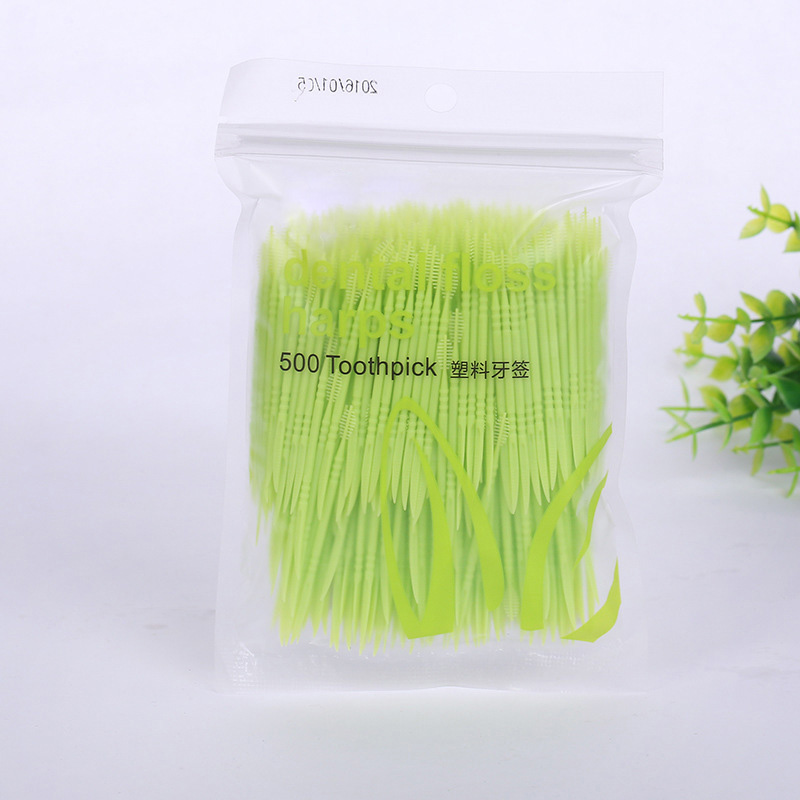 500Pc Plastic Toothpick Dental Interdental Brush Double Head Toothbrush Floss Brush Tooth Pick Interdental Cleaner Oral Hygiene