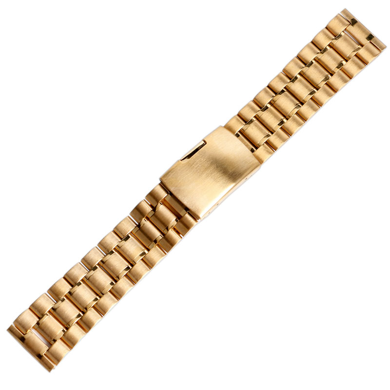 18mm/20mm/22mm Push Button Fold Over Clasp Stainless Steel Replacement Golden Men Wrist Band Watch Strap High Quality Luxury metal stainless steel watch band wrist strap 16mm 18mm 20mm 22mm replacement butterfly clasp bracelet men women black rose gold