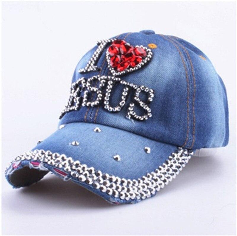 LGFD7621 women denim jeans cloth Artificial stones bling bling red i love heart Jesus cotton baseball caps