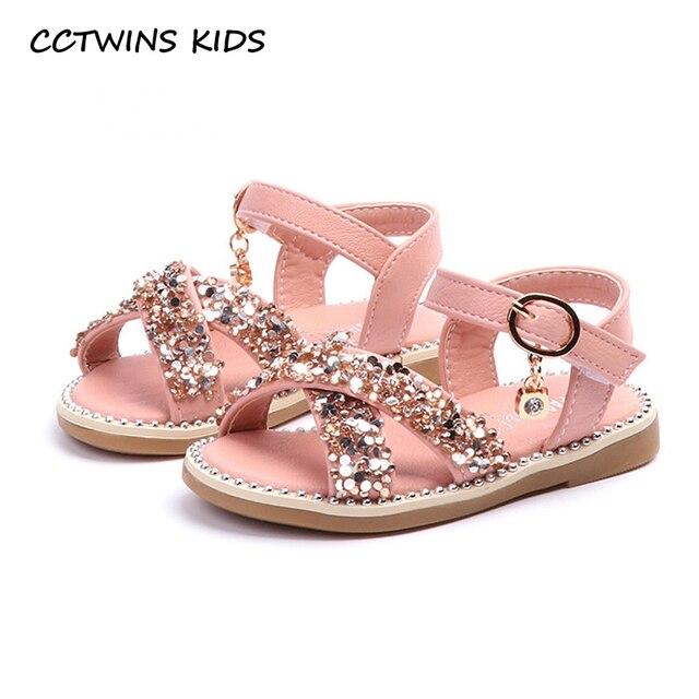 CCTWINS KIDS 2018 Summer Baby Fashion Glitter Barefoot Sandal Toddler Pu  Leather Flat Girl Rhinestone Princess Shoe Child BP111 325259b8c0d5