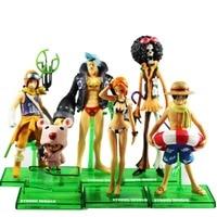 6pcs Set One Piece POP Luffy Chopper Usopp Nami Brook Franky Collectible Figure Loose