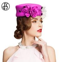 Fascinator 100 Wool Felt Pillbox Hat With Veil And Floral For Ladies Purple Rose Vintage Hats