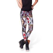 NEW 3064 sexy girl women Poker Red Queen Hearts King Skull 3D prints polyester elastic fitness Women leggings pants