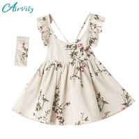 Summer Kids Dresses For Girls Beach Dress Teenager Princess Vestido Kids Clothing Infant Floral Print Toddler