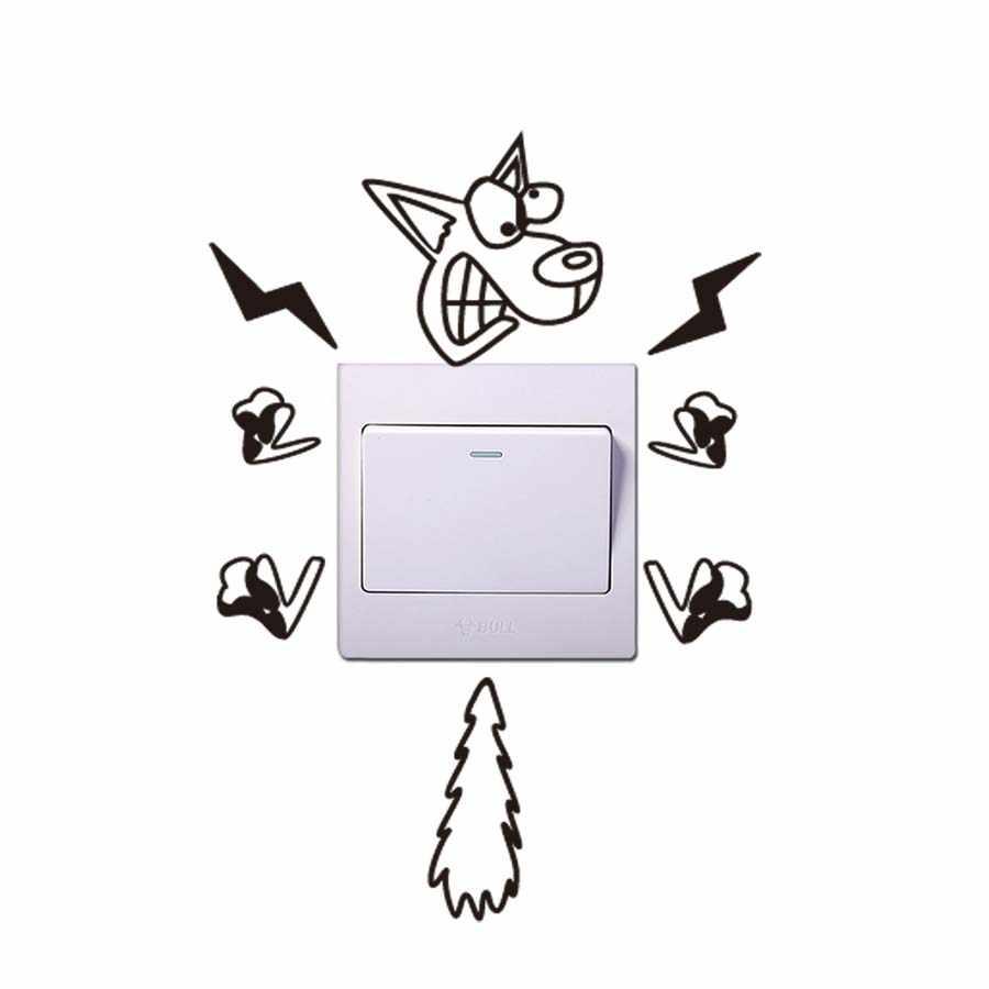 4 Gaya Listrik Hewan Kartun Lucu Stiker Vinil Switch Door Soket Kamar Tidur Wallpaper Modern Tahan Air Dekorasi Rumah