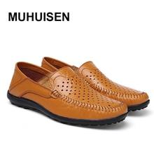 2017 лето повседневная обувь для мужчин дышащие и удобные натуральная кожа скольжения на бездельников моды ручной работы большой размер 39-46