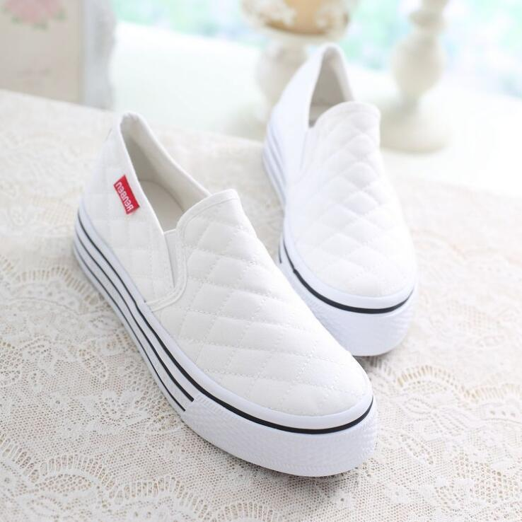 Spring Low Canvas Women's Shoes Casual Platform Shoes One Foot Solid Color Women's Shoes
