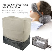 XC USHIO Portable Travel Set Eye Mask Travel Neck Pillow Inflatable Foot Rest Cushion With Dust Cover & Storage Bag Airplane