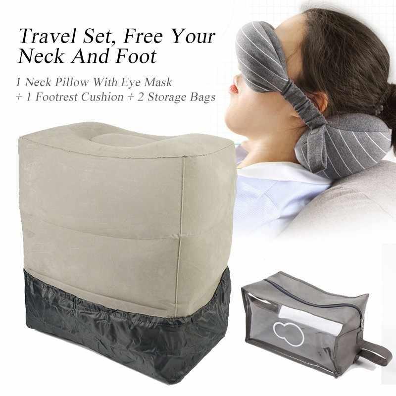 XC Ushio Portable Travel Set Masker Mata Perjalanan Leher Bantal Inflatable Kaki Sisanya Bantal dengan Penutup Debu & Tas Penyimpanan pesawat