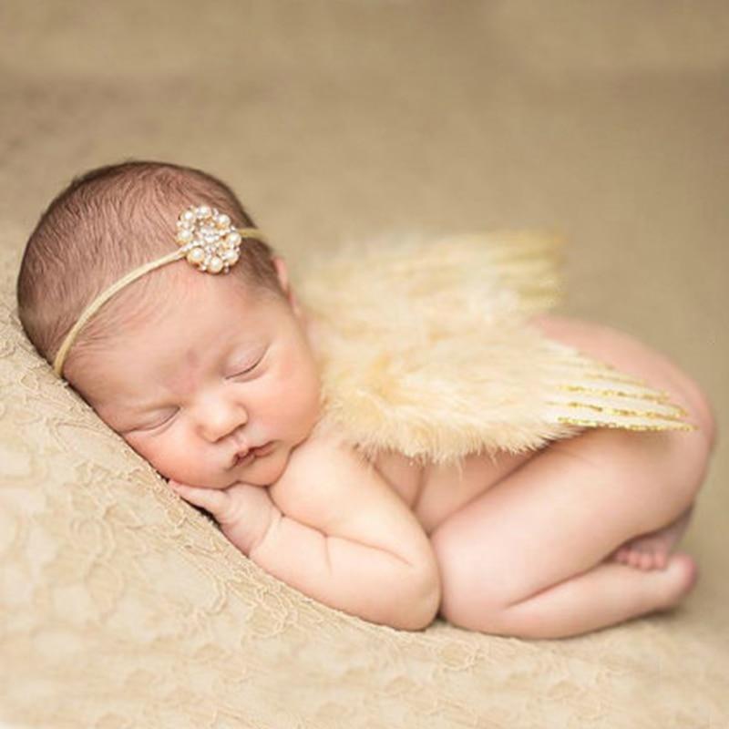 Newborn Angel Wings with Pearl Headband Photography Accessories Bebe Photo Props Handmade Silver Side Wings Rhinestone Headwear rhinestone layered angel wings belly button jewelry