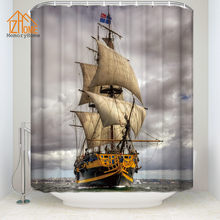 Memory Home Modern Pirate Ship Shower Curtain Waterproof Polyester Fabric Bathroom Funny Decor
