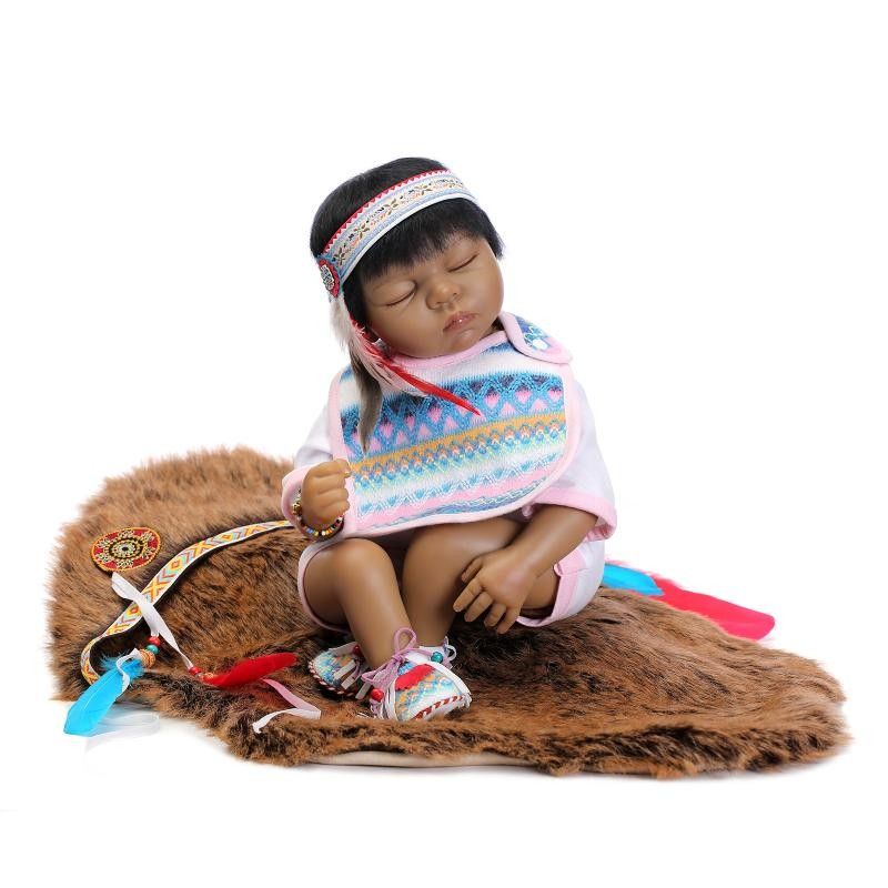Multi Styles 22 Soft Silicone Vinyl Native American Indian Black Color of Reborn Baby Dolls of Collectible Dolls Xmas Gifts new native american black skin african ethnic bonecas reborn dolls 55cm soft silicone vinyl reborn baby dolls with black hair