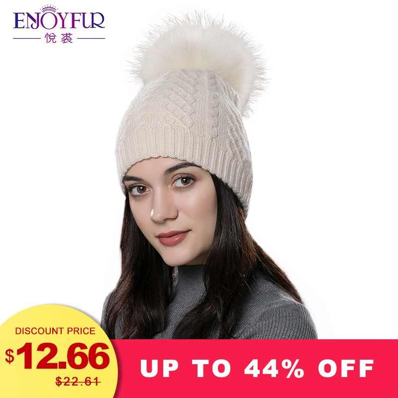 567660230ca226 ENJOYFUR Winter fur pompom hat for women cashmere wool cotton hat Big Real  Raccoon fur pompom