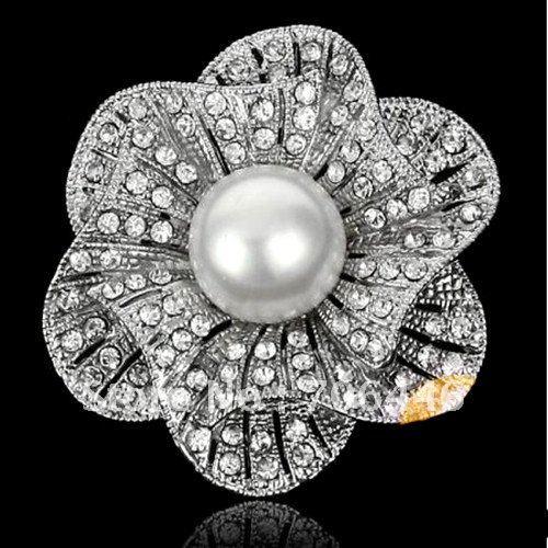 Родием красивые прозрачные Стразы ab с украшением в виде кристаллов белого искусственного жемчуга центр цветок Свадебный букет красная роза