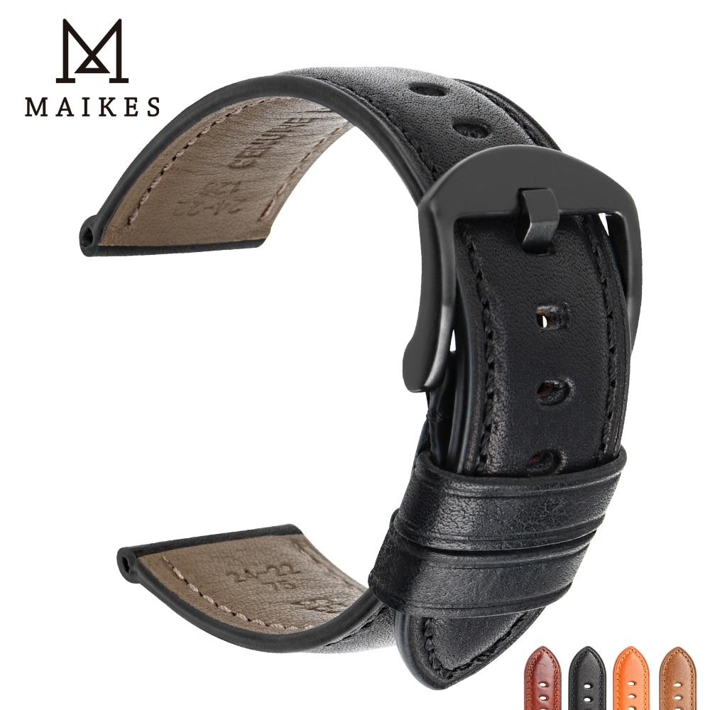 Faixa de Relógio Pulseira de Acessórios de Relógio de Couro de Bezerro Fivela de Aço Maikes Relógio Genuína Brilhante Inoxidável Pulseira 20mm 22mm 24mm