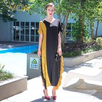 VOA 2017 Summer Casual Simple V Neck Plus Size Loose Long Maxi Dress Chinese Style Vintage