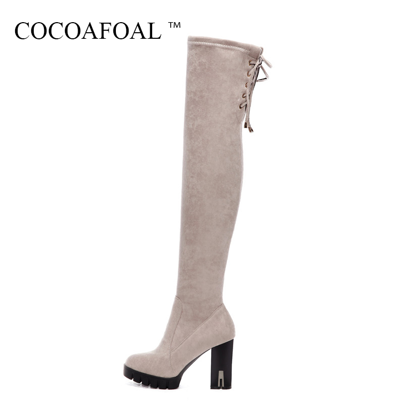 COCOAFOAL Women Genuine Leather Thigh High Boots Winter Chelsea Over The Knee Boots Plus Size 33 43 Sexy Black High Heeled Shoes cocoafoal women sexy black high heeled shoes genuine leather thigh high boots plus size 33 41 winter chelsea over the knee boots