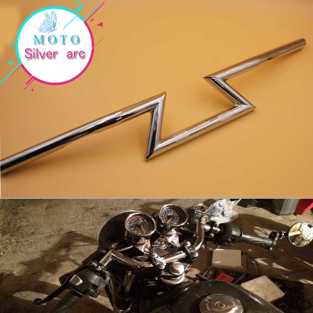 Universal Motorcycle 1 Z Bars Handlebars For Harley Custom Chopper Bobber Sportster Dyna Softail silver 25MM