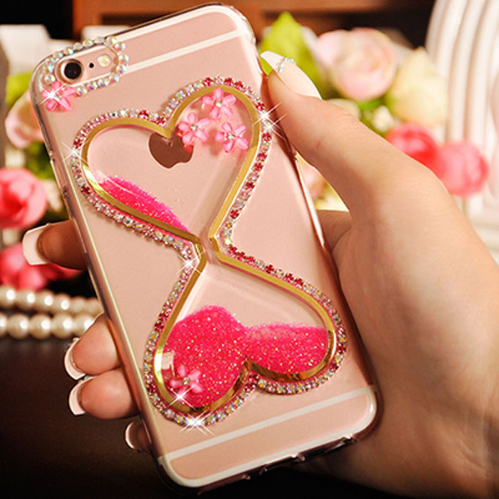 Rhinestone Cases Lovely Xsmyiss For Samsung A5 A7 2017 A8 2018 Plus A9 Girls Rhinestone Diamond Bling Liquid Sand Bottle Quicksand Soft Phone Case Phone Bags & Cases