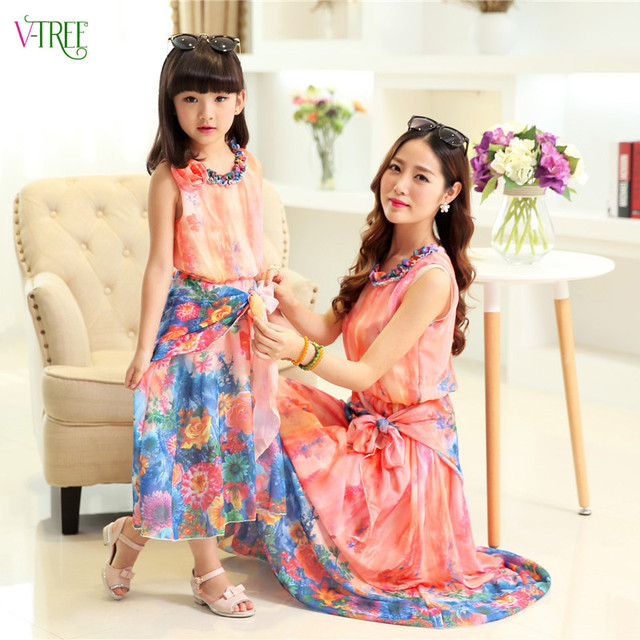 Fashion summer mother daughter dresses family matching outfits mother and daughter beach long dress clothes family clothing