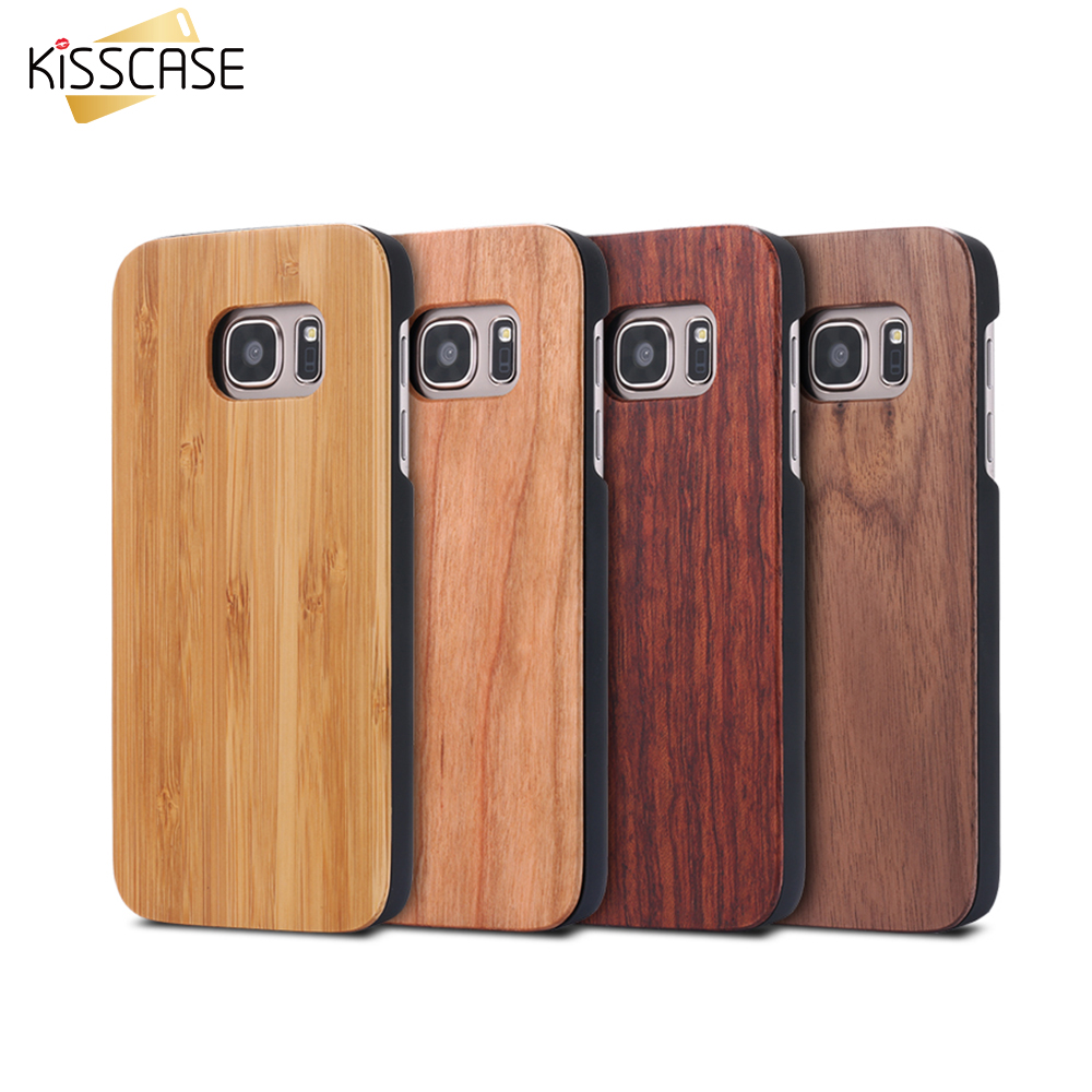 KISSCASE Cases For Samsung Galaxy S8 S9 Plus Real Wooden Case For Samsung S9 S8 S7 S6 Edge Covers Wood Bamboo Phone Accessories