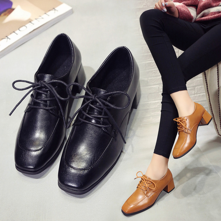 ФОТО Simple tie shoes Square deep spring 2017 with thick with low shoe size all-match leisure shoes