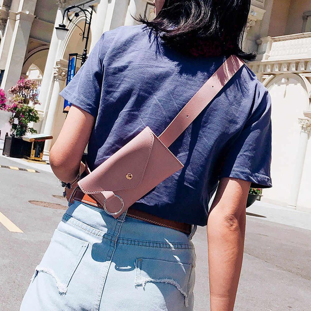 についてファニーパック女性ベルトバッグ革ウエストバッグファッション女性の純粋な色のリング PU メッセンジャーショルダー胸 Pochete homem 2019