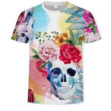 NEW Summer Hot Skull Poker Print Men Short Sleeve 3D T Shirt Casual Breathable