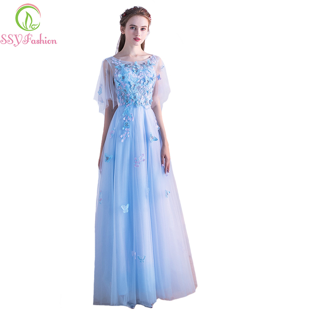 SSYFashion New Fresh Light Blue Lace Evening Dress Bride Banquet Long  Appliques Butterfly Prom Party Formal Gowns Robe De Soiree 84f3113cc7d4