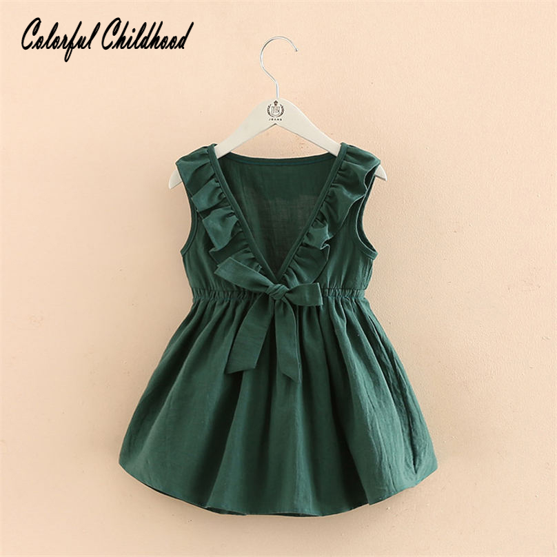 Casual baby Girls Dress Ruffles tutu dress vintage emerald party wedding vestidos toddler kids clothing summer 2t-7