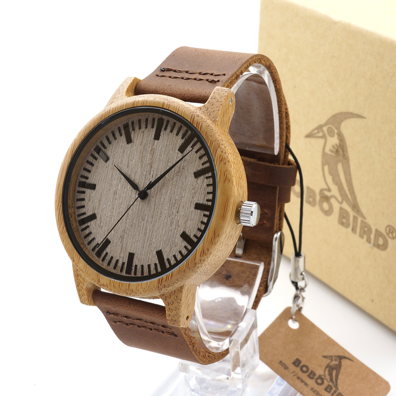 BOBO BIRD A16 Fashion Men Wooden Quartz Watch High Quality Bamboo Wristwatch with Brown Leather Band