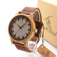 Bobo bird a16 homens da moda de bambu de madeira relógio de quartzo de alta qualidade relógio de pulso com pulseira de couro marrom erkek kol saati