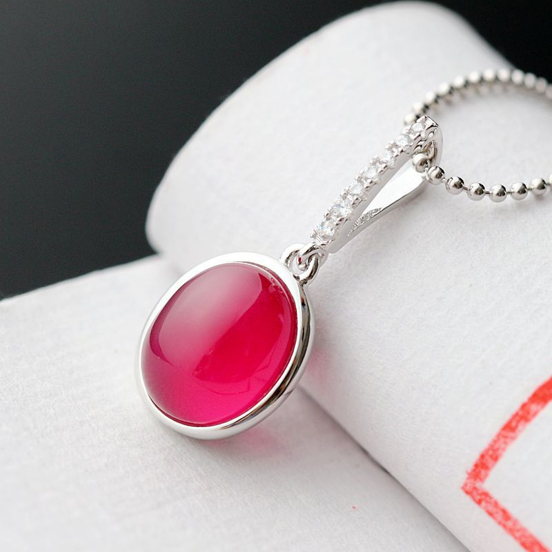 Стерлинговый Кулон 925 Серебряный инкрустированный камень кулон просто микро Красный