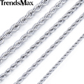 Trendsmax Silver Color Rope Link Stainless Steel Necklace Womens Mens Chain Boys Girls Wholesale Dropship Jewelry KNM132