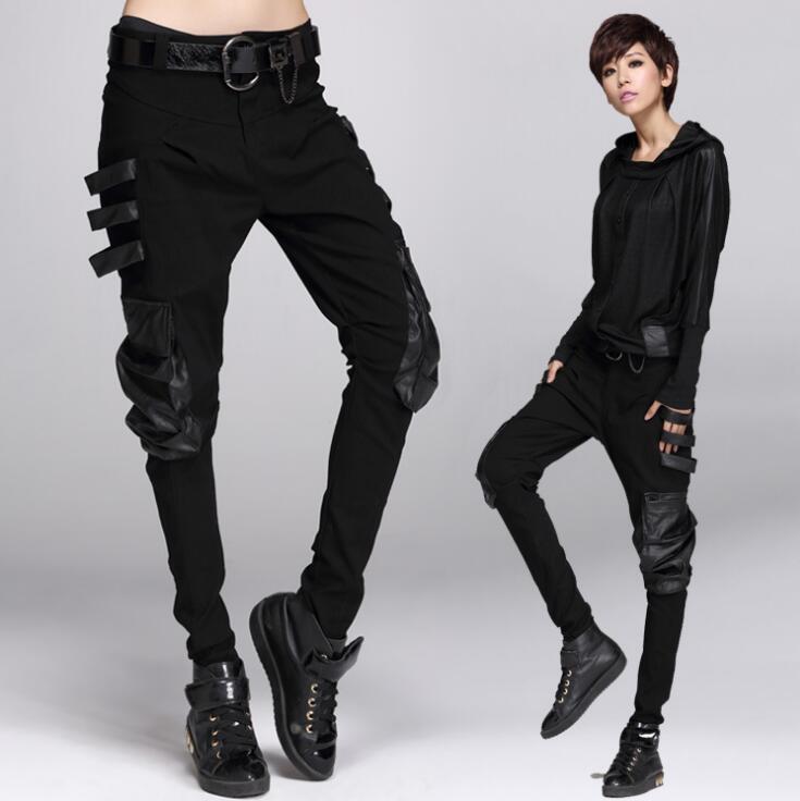 #1309 Faux leather pockets Pantalon femme Black Sarouel femme Casual Fashion Trousers women Pantalones mujer Harem hip hop women