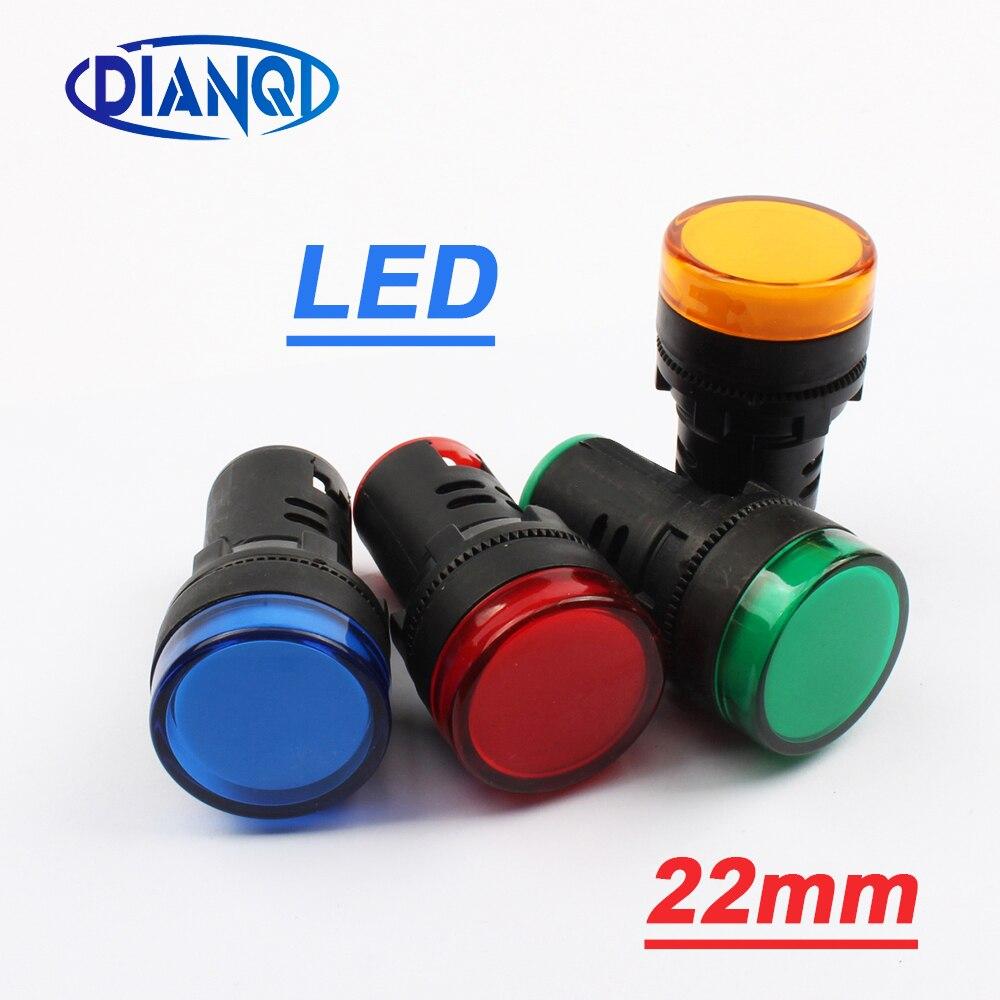 DIANQI 1pcs 12V 24V 110V 220V 380V 22mm Panel Mount LED Power Indicator Pilot Signal