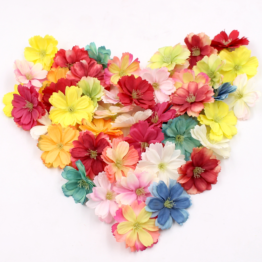10pcs 4cm Artificial Silk Plum Blossom Flower Wedding Decorative Flower DIY Wreath Gift Cut & Clip Craft Fake Flower Decoration