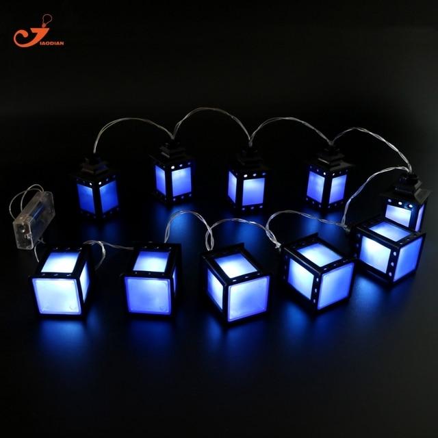 Blaue Laterne Licht Terrasse Eingerichtet Lichterketten Fairy Ferien