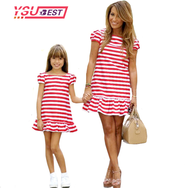 9bc10b85d2 2019 Mother Daughter Dresses Casual Spring Summer Striped Family Look  Matching Clothes Cotton Mom And Daughter Dress Clothing