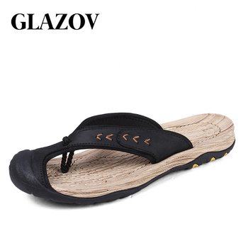 GLAZOV Brand Men's Flip Flops High Quality Genuine Leather Luxury Slippers Beach Casual Sandals Summer for Men Fashion Shoes New