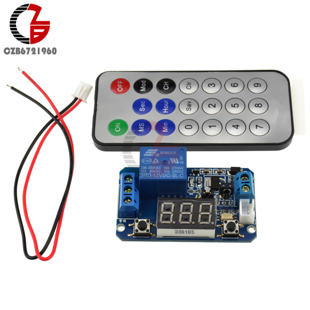 Infrared remote control DC 12V timer delay relay LED tube display module for Arduino 5v 2 channel ir relay shield expansion board module for arduino with infrared remote controller