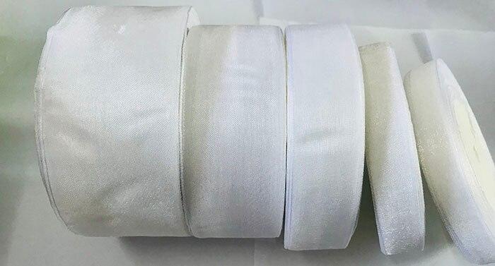 Geinne 12 мм-50 мм шириной 500 ярдов 10 рулонов белая лента из органзы оптовая продажа подарочной упаковки Рождество лентами
