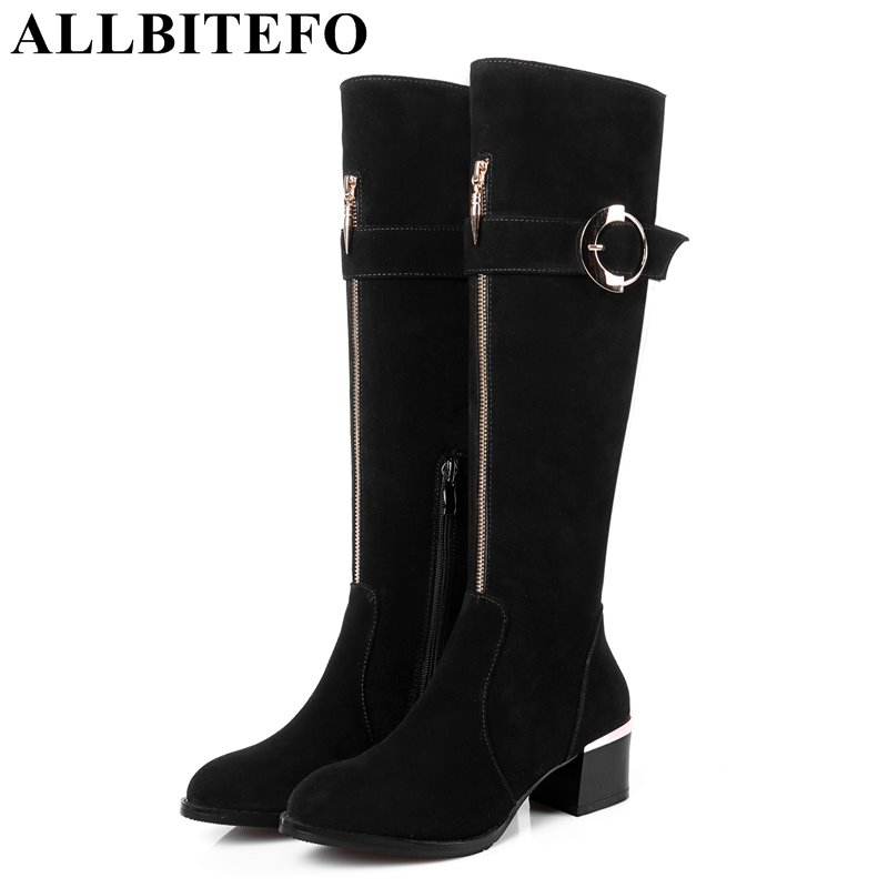 ALLBITEFO fashion full genuine leather medium heel women boots brand buckle thick heel winter boots girls boots size:33-43 цены онлайн