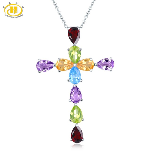 Hutang Stone Pendant Natural Amethyst Garnet Citrine Topaz 925 Sterling Silver Necklace Fine Gemstone Jewelry for Women's Gift