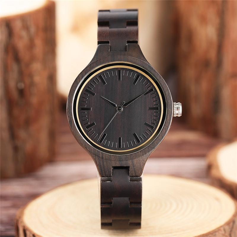 Full Sandalwood Wristwatch Dark Chocolate Brown Wooden Bracelet Concise Dial Classic Men Women Business Watch relogio masculino natural hand made classic red wooden men quartz watch bracelet clase full wood band simple scale dial cool gift reloj masculino