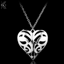 Freeshipping Vampire Diary Caroline Forbes Pendants Necklaces Silver Color Hollow Heart Chain Necklace statement jewelry