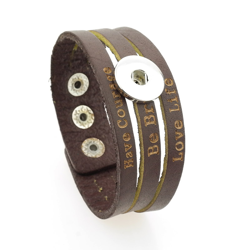 high quality fashion Genuine Leather bracelet fit 18mm snap button for men and women can adjust jewelry bracelet A79